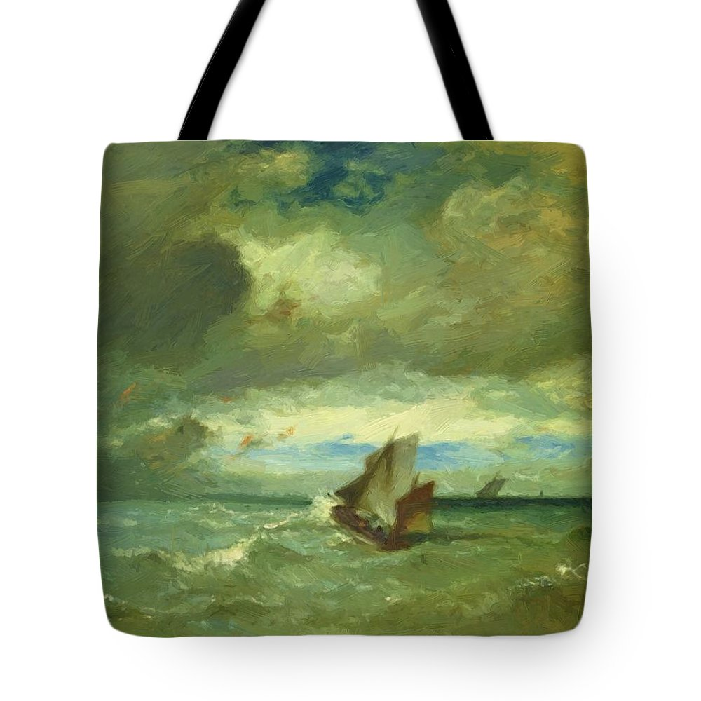 Choppy Tote Bag featuring the painting Choppy Sea 1870 by Dupre Jules