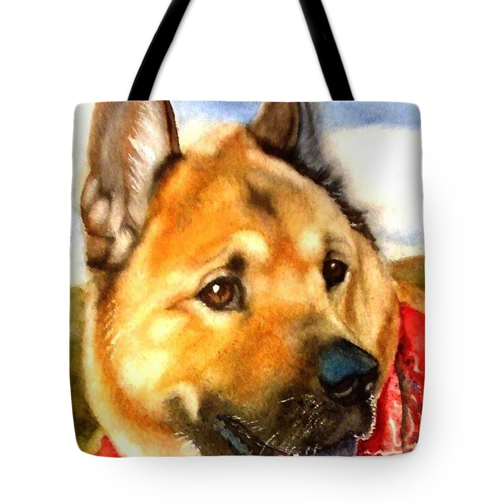 Chow Tote Bag featuring the painting Chow Shepherd Mix by Marilyn Jacobson