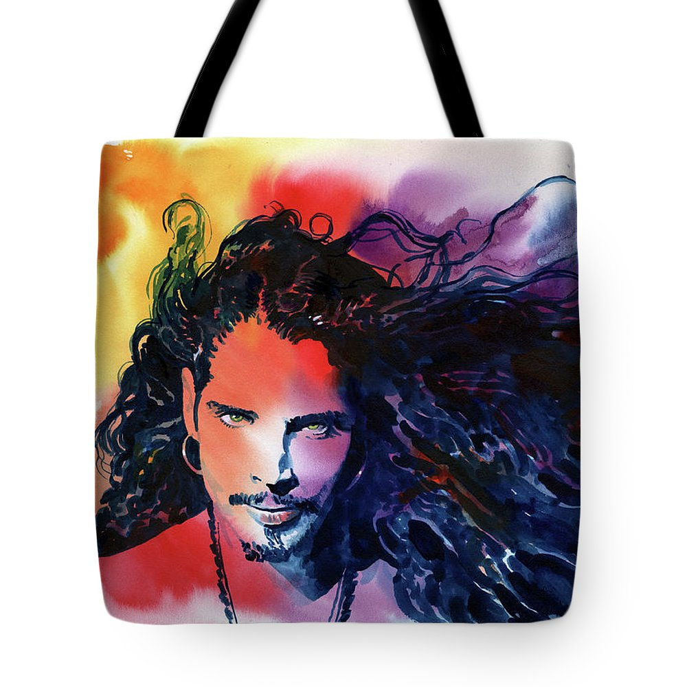 Soundgarden Tote Bag featuring the painting Chris Cornell by Ken Meyer jr