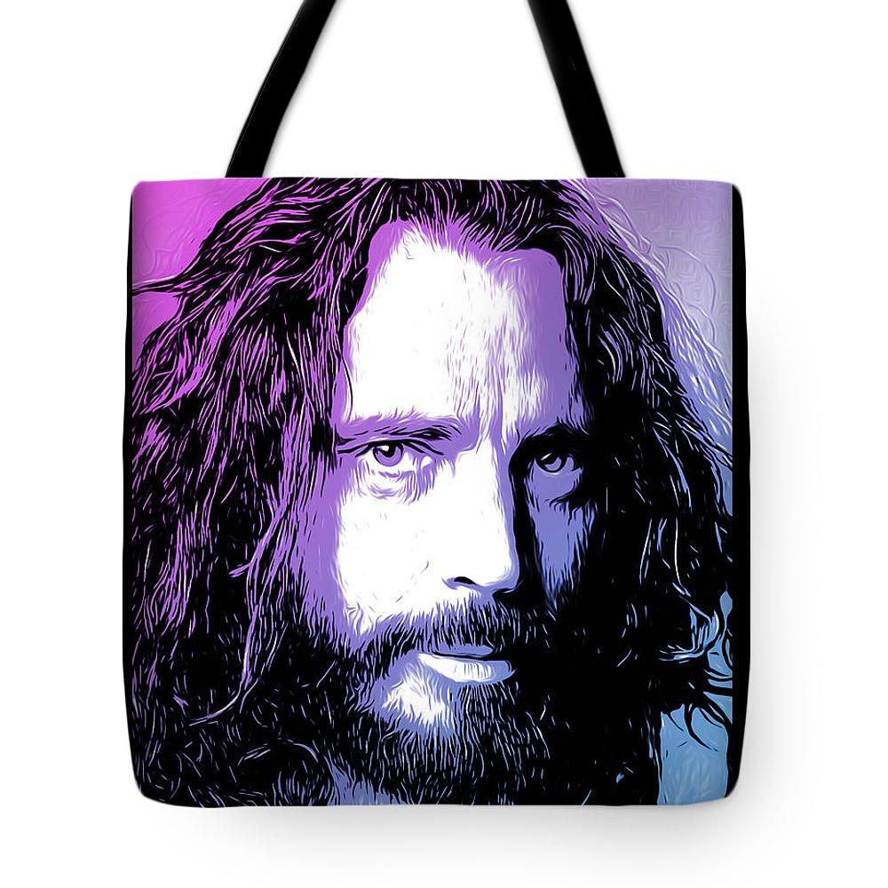 Chris Cornell Tote Bag featuring the digital art Chris Cornell Tribute by Greg Joens