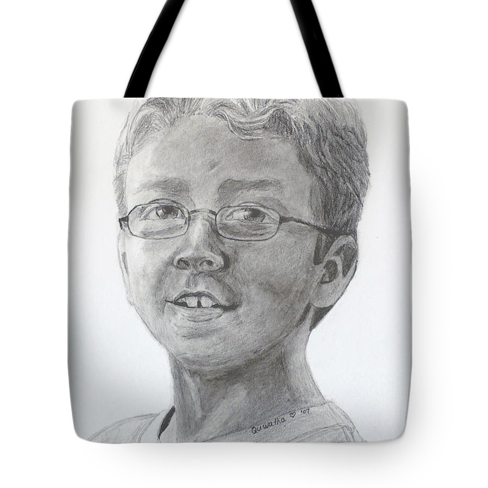 Chris Tote Bag featuring the drawing Chris Dovick by Quwatha Valentine