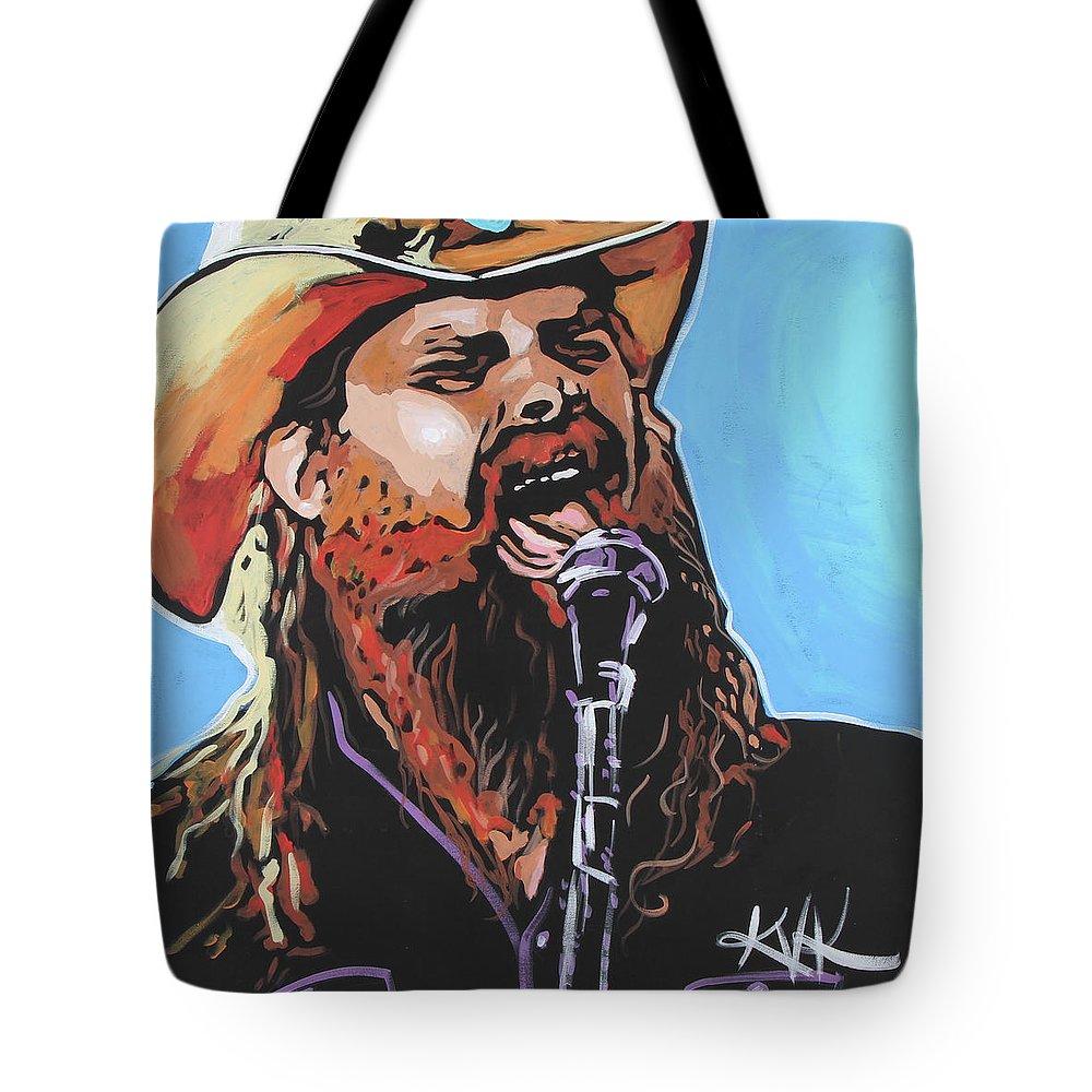 Chris Stapleton Tote Bag featuring the painting Chris Stapleton by Katia Von Kral