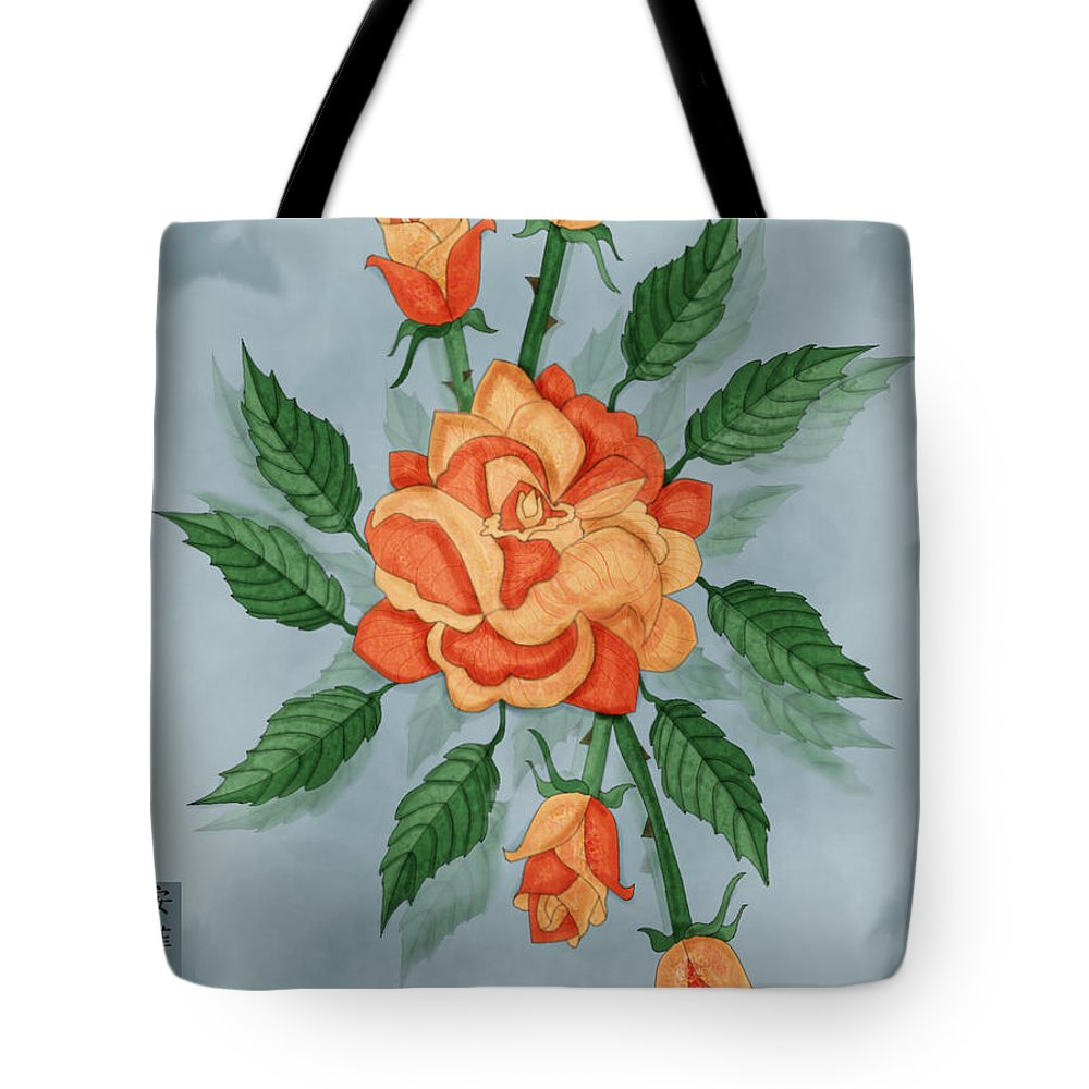 Floral Tote Bag featuring the painting Christ And The Disciples Roses by Anne Norskog