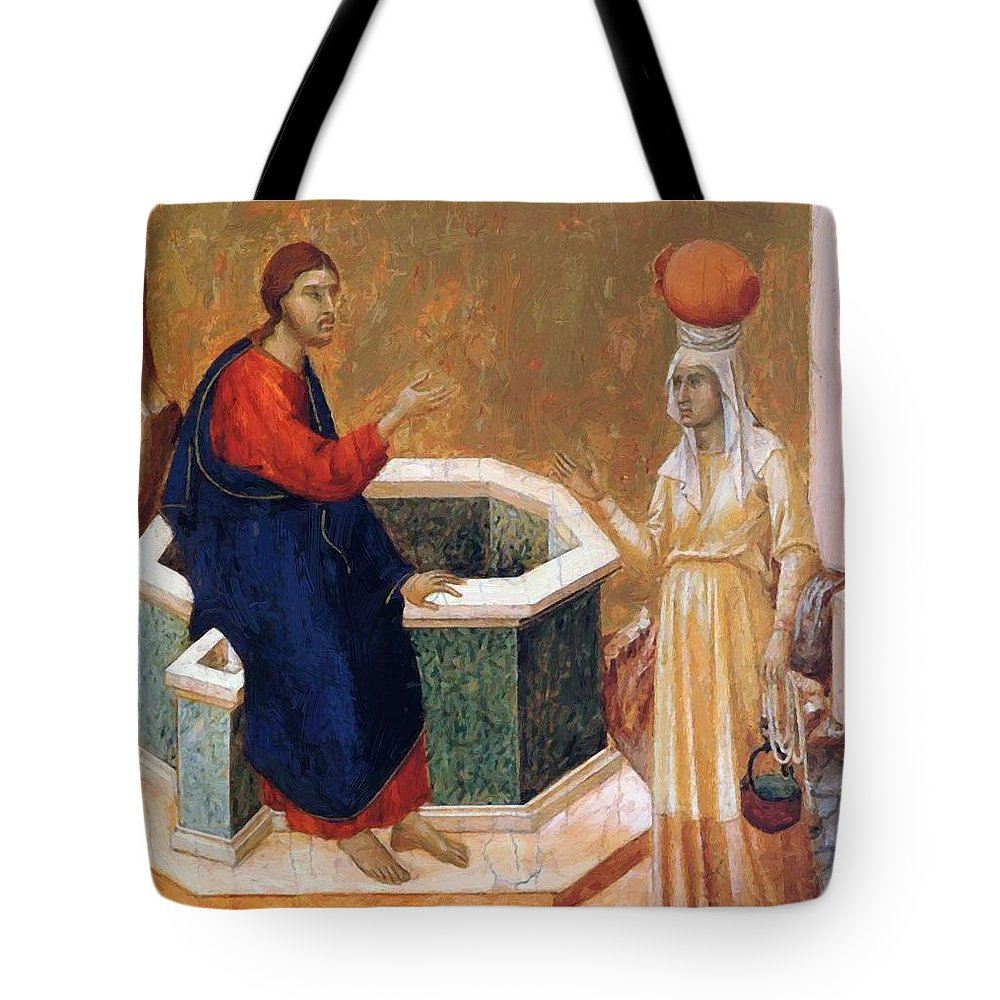 Christ Tote Bag featuring the painting Christ And The Samaritan Woman Fragment 1311 by Duccio