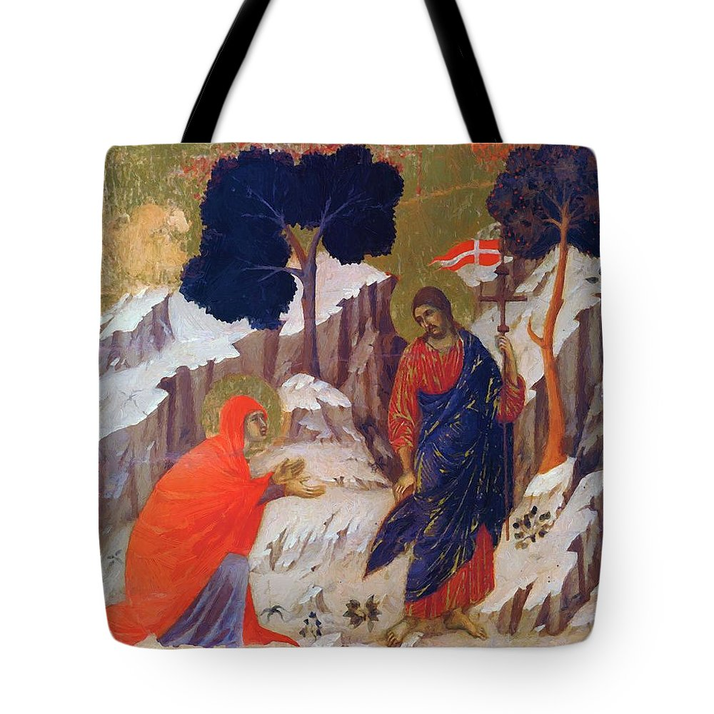Christ Tote Bag featuring the painting Christ Appearing To Mary 1311 by Duccio