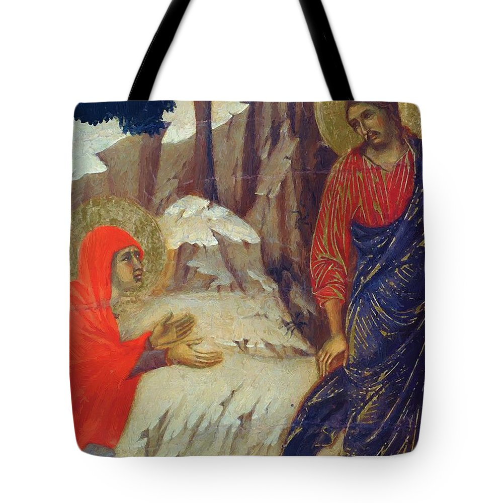 Christ Tote Bag featuring the painting Christ Appearing To Mary Magdalene Fragment 1311 by Duccio