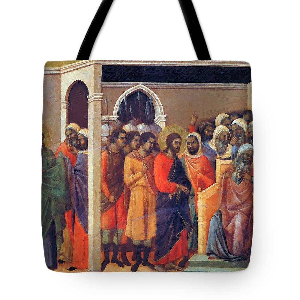 Christ Tote Bag featuring the painting Christ Before Caiaphas 1311 by Duccio