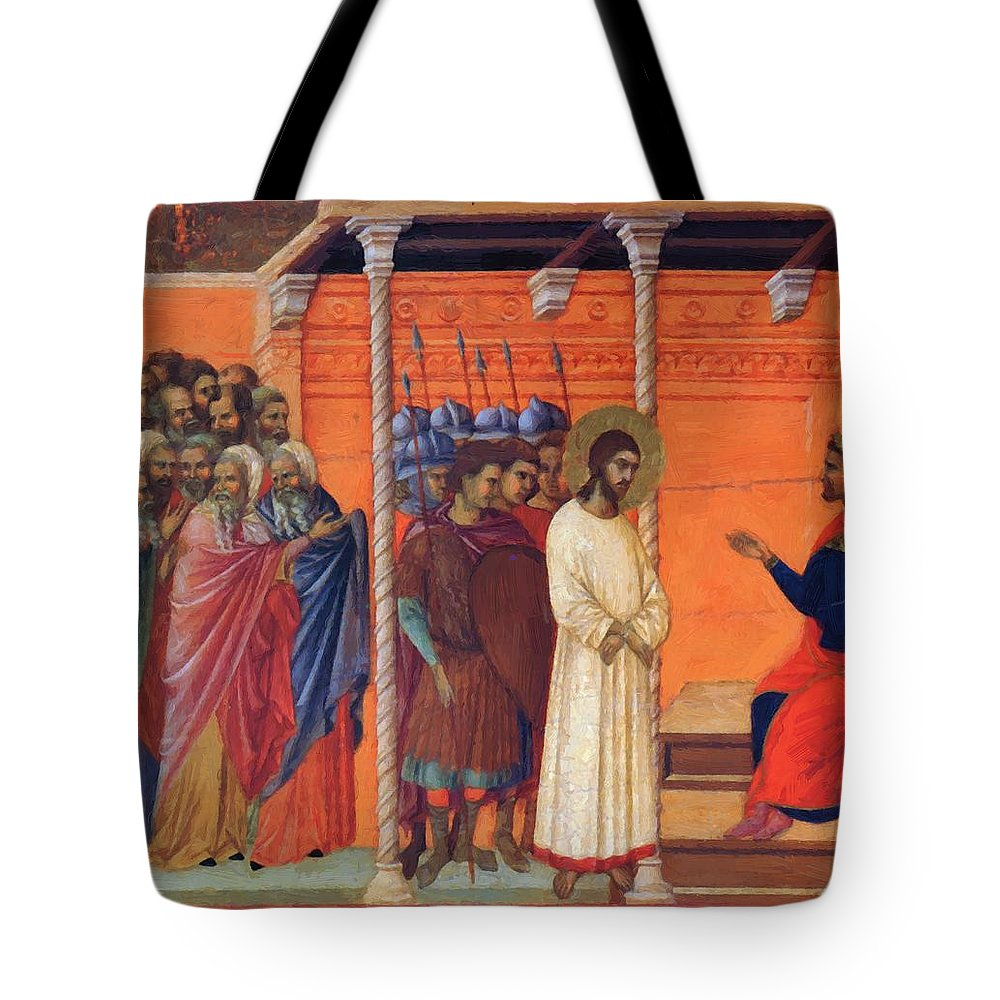 Christ Tote Bag featuring the painting Christ Before Pilate 1311 by Duccio