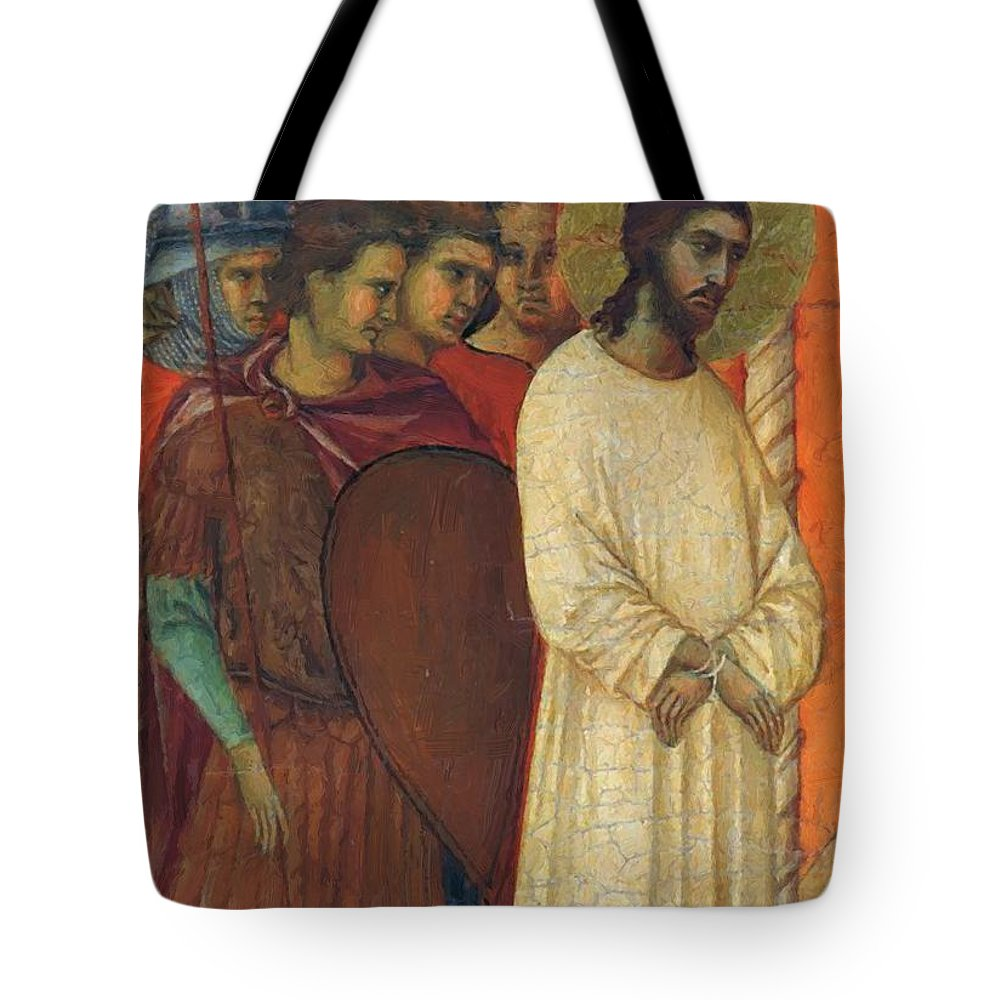 Christ Tote Bag featuring the painting Christ Before Pilate Fragment 1311 by Duccio