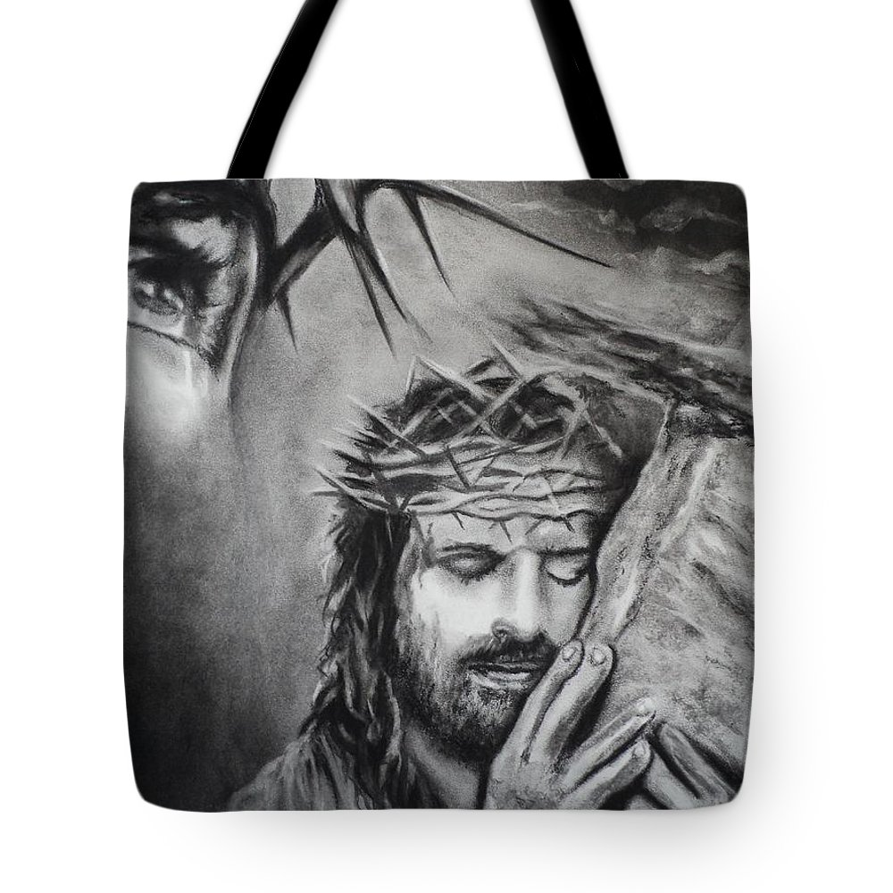 Christ Tote Bag featuring the drawing Christ by Carla Carson