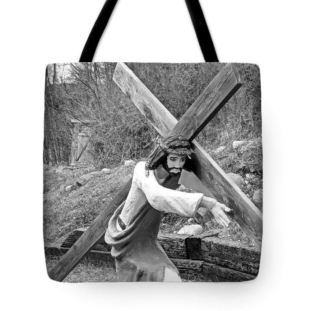Christ Tote Bag featuring the photograph Christ Carrying Cross, Vadito, New Mexico, March 30, 2016 by Mark Goebel