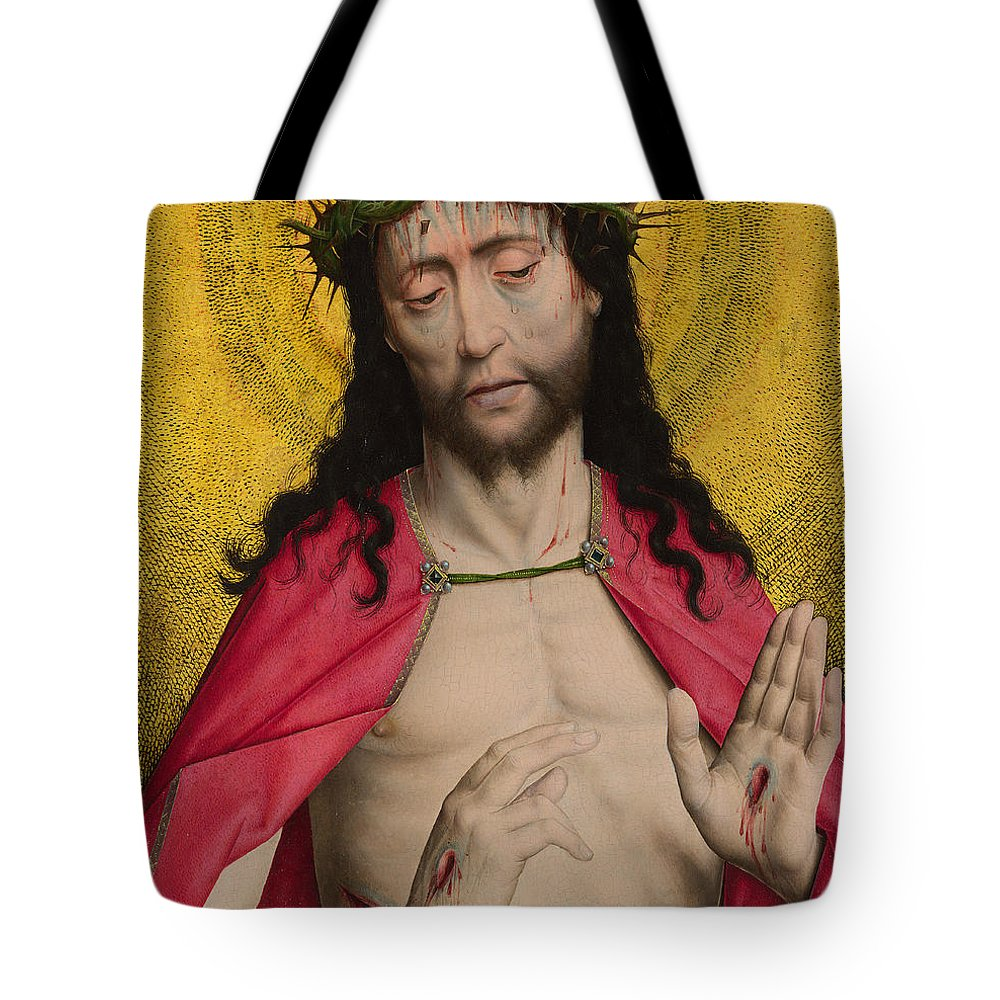 Christ Tote Bag featuring the painting Christ Crowned With Thorns by Dirck Bouts