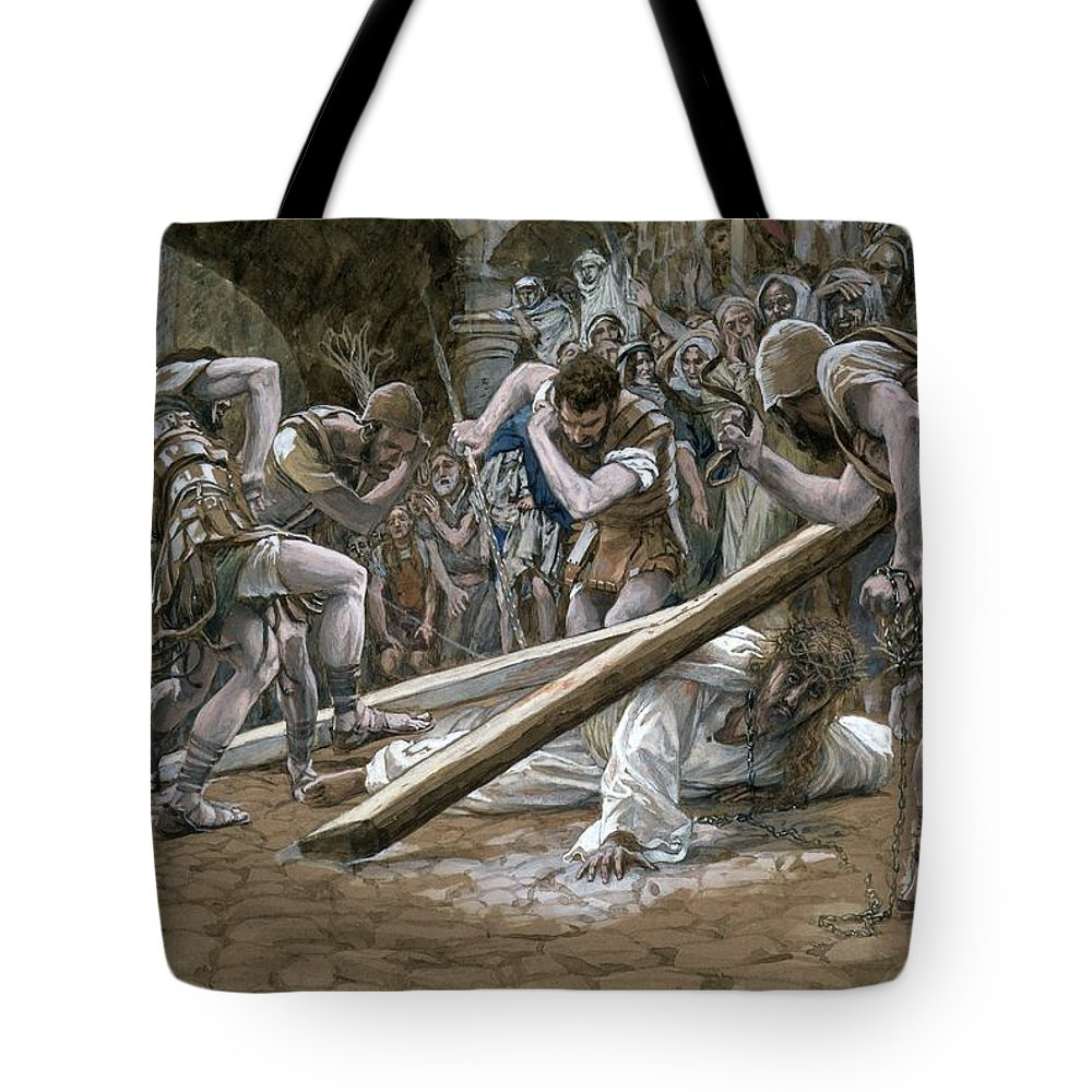 Fallen Tote Bag featuring the painting Christ Falls Beneath The Cross by Tissot