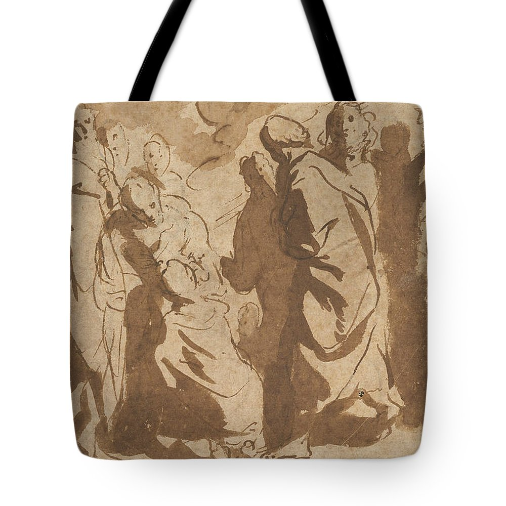 Flemish Art Tote Bag featuring the drawing Christ Healing The Paralytic by Jacob Jordaens