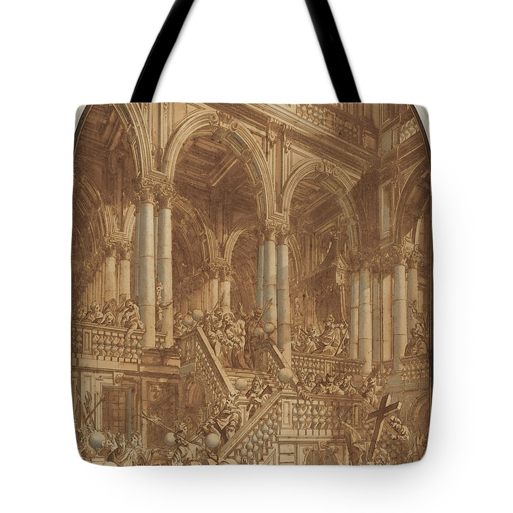 Tote Bag featuring the drawing Christ Led Captive From A Palace by Giuseppe Galli Bibiena