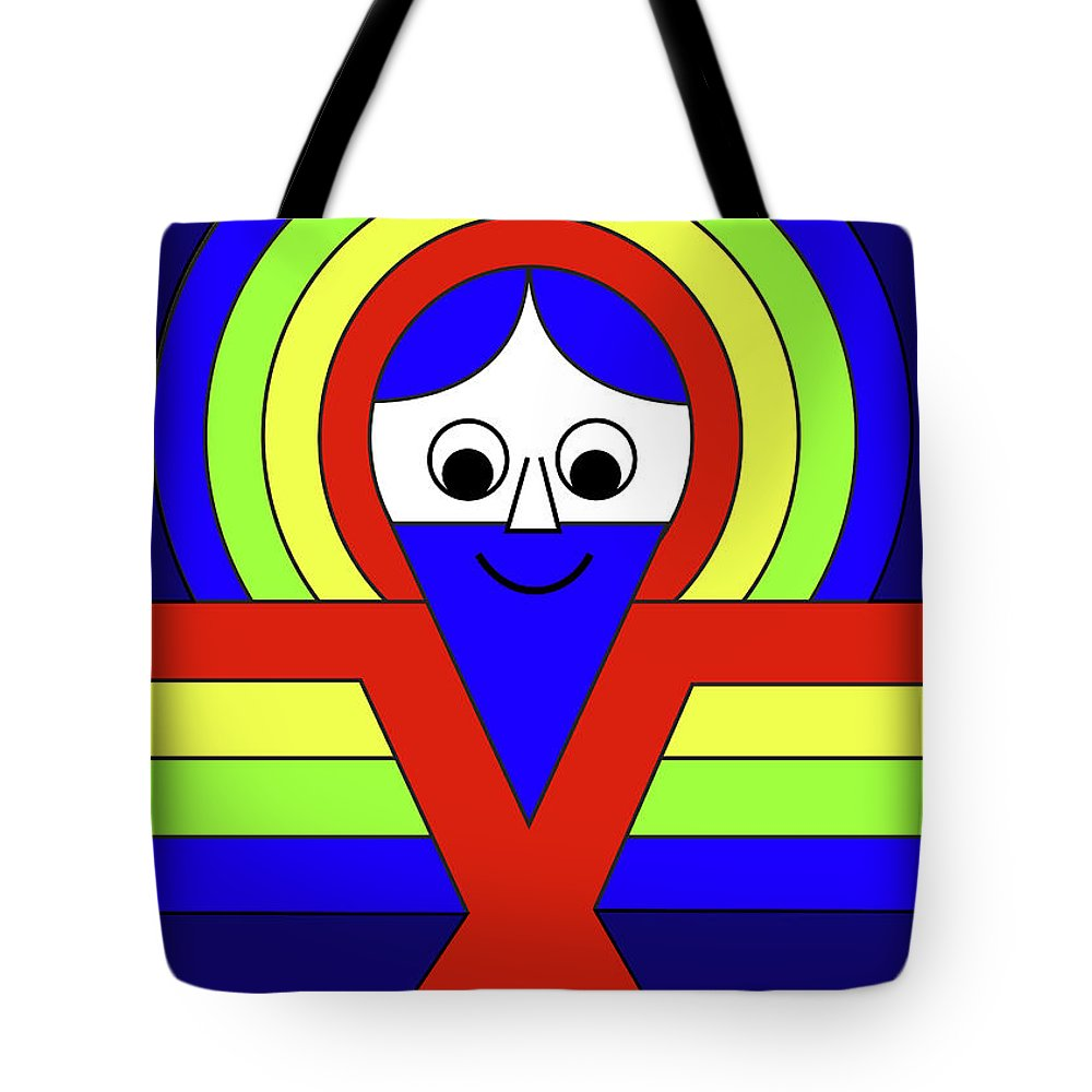 Tote Bag featuring the mixed media Christ on the Jelling Stone by Asbjorn Lonvig