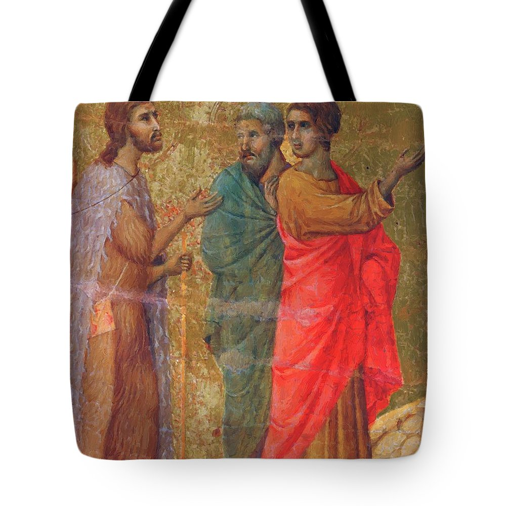 Christ Tote Bag featuring the painting Christ On The Road To Emmaus Fragment 1311 by Duccio