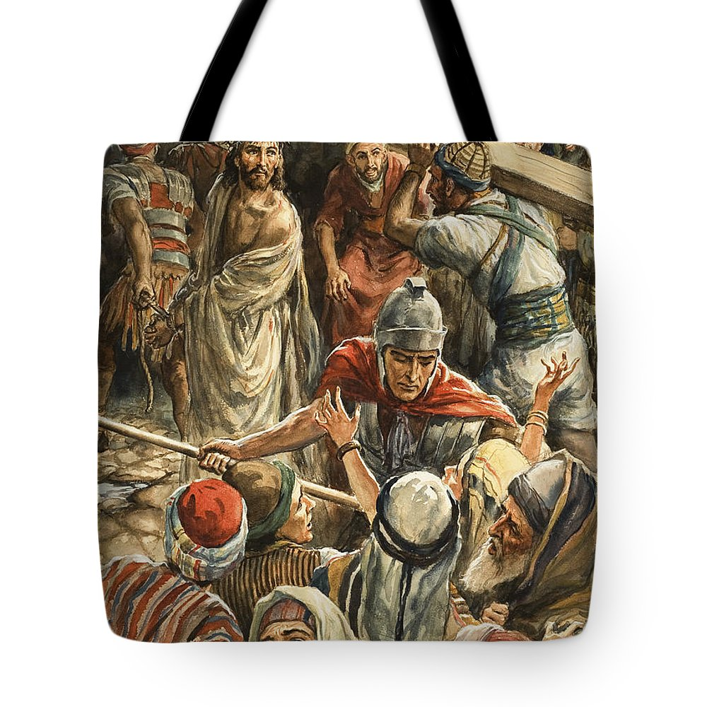 Christ;simon Of Cyrene;crucifixion;cross;carrying;jesus;bible Tote Bag featuring the painting Christ On The Way To His Crucifixion by Henry Coller