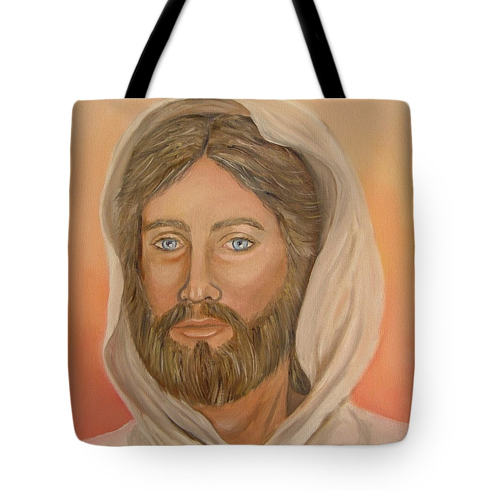 Christ Tote Bag featuring the painting Christ by Quwatha Valentine