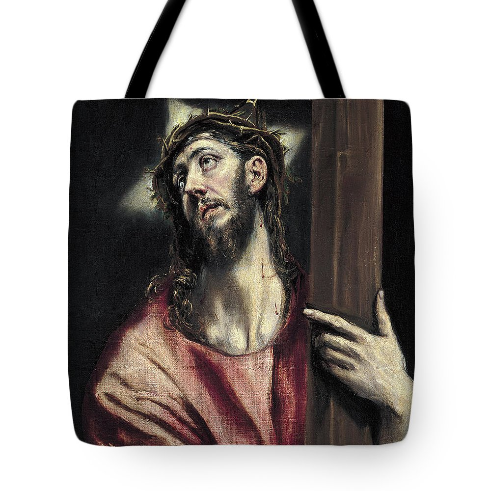 Christ Tote Bag featuring the painting Christ With The Cross by El Greco