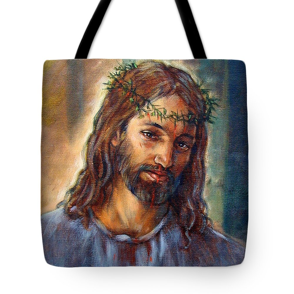 Christ Tote Bag featuring the painting Christ With Thorns by John Lautermilch