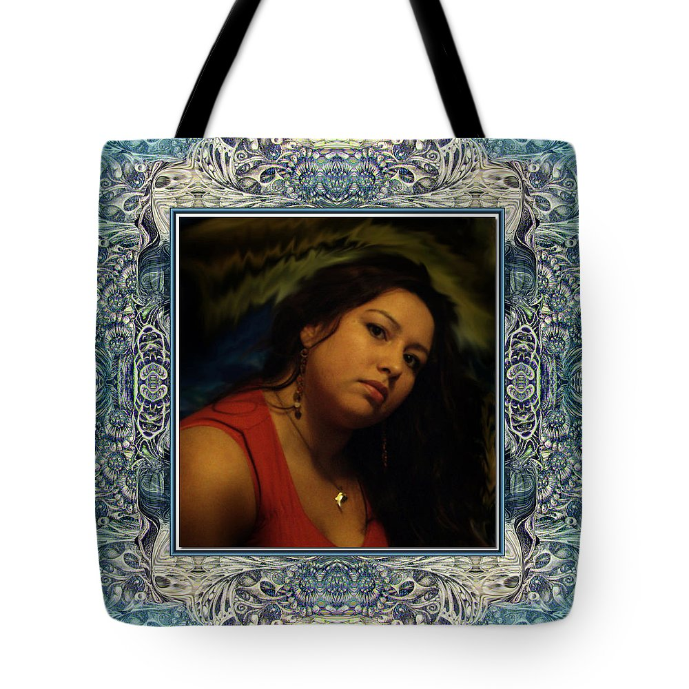 Portrait Glamour Fantasy Muse Tote Bag featuring the digital art Christan Cameo by Otto Rapp