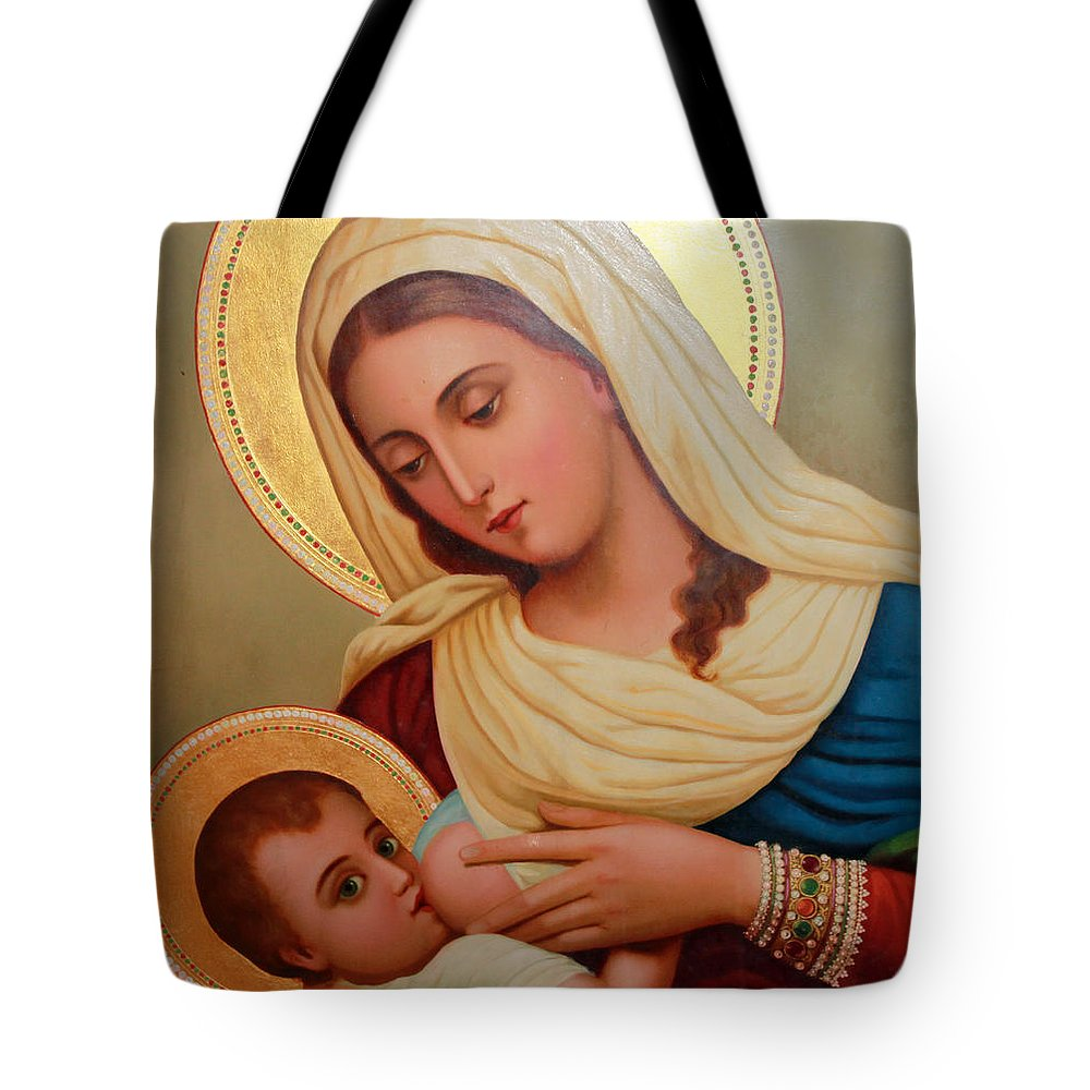 Christianity Tote Bag featuring the painting Christianity - Baby Jesus by Munir Alawi