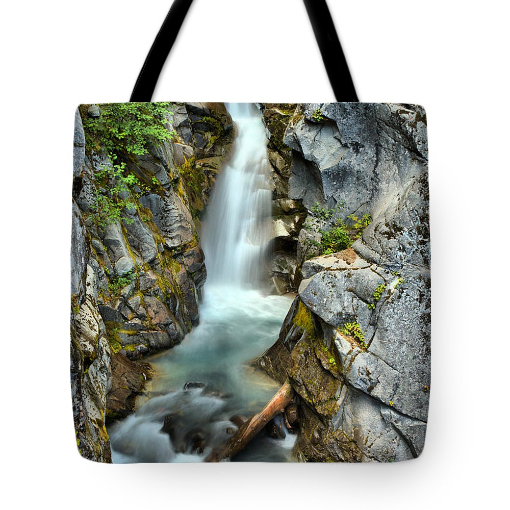Christine Falls Tote Bag featuring the photograph Christine Falls In The Canyon by Adam Jewell