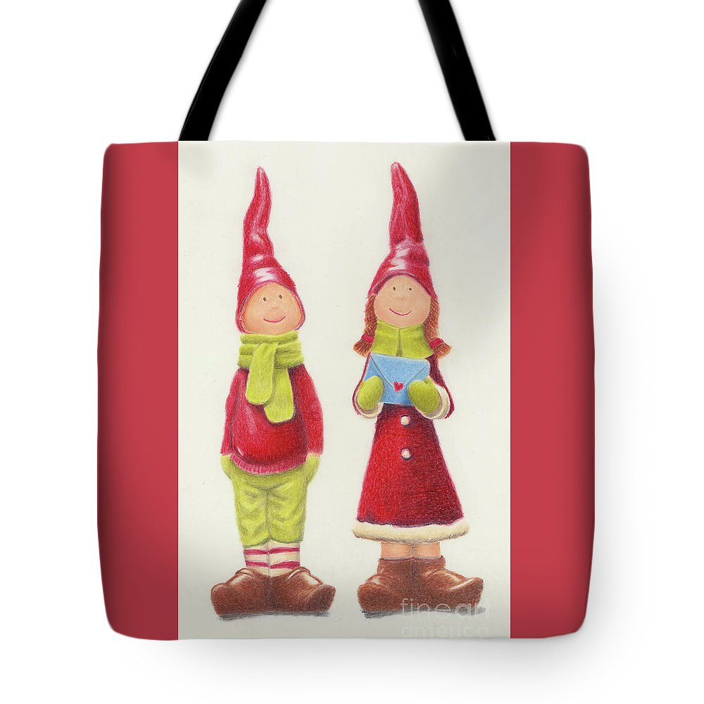 Christmas Tote Bag featuring the painting Christmas 2017 Happy Couple by Carol Bond Art
