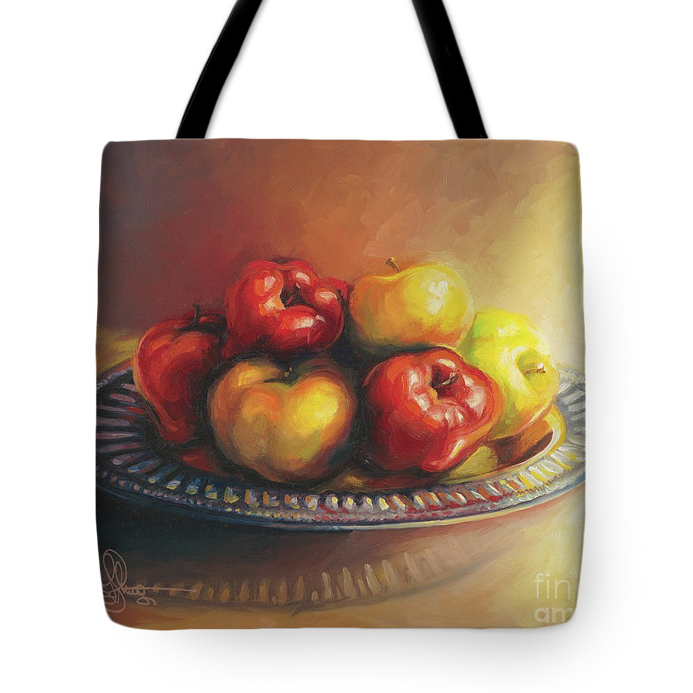 Apples Tote Bag featuring the painting Christmas Apples by Martin Stevers