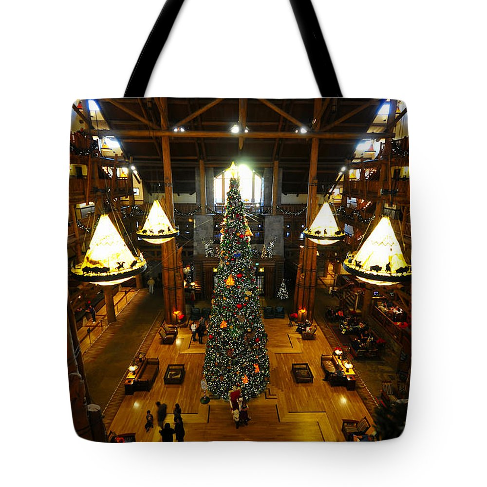 Wilderness Lodge Tote Bag featuring the photograph Christmas At The Lodge by David Lee Thompson