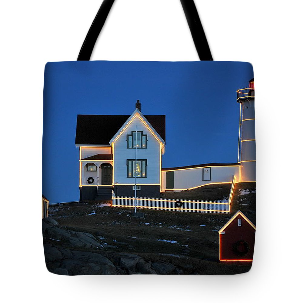 Maine Tote Bag featuring the photograph Christmas At The Nubble by Catherine Reusch Daley