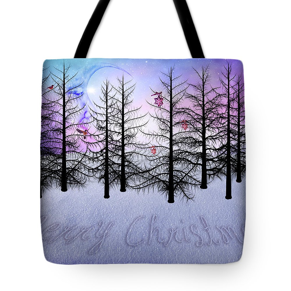 Christmas Tote Bag featuring the digital art Christmas Bare Trees by Mihaela Pater