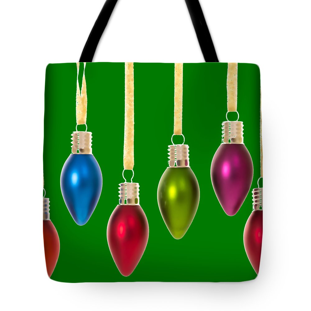 Christmas Tote Bag featuring the digital art Christmas Baubles Tee by Edward Fielding