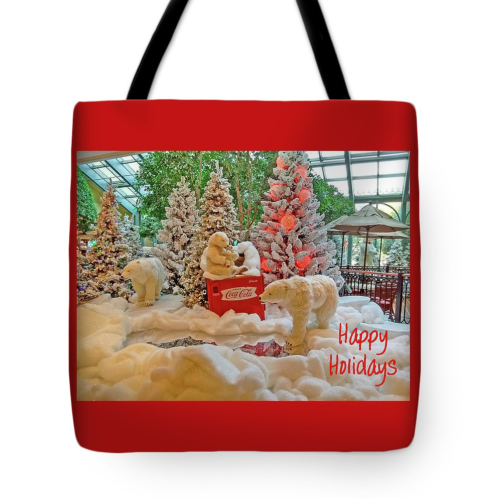 Photography Tote Bag featuring the digital art Christmas Bears - Happy Holidays by Marian Bell