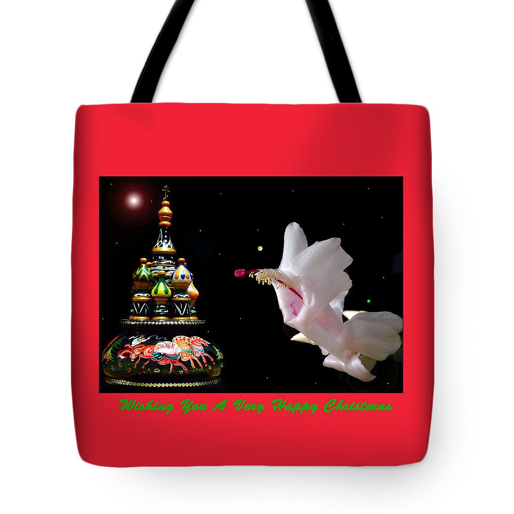 Christmas Cards Tote Bag featuring the photograph Christmas Cactus Floral Fantasy. by Terence Davis