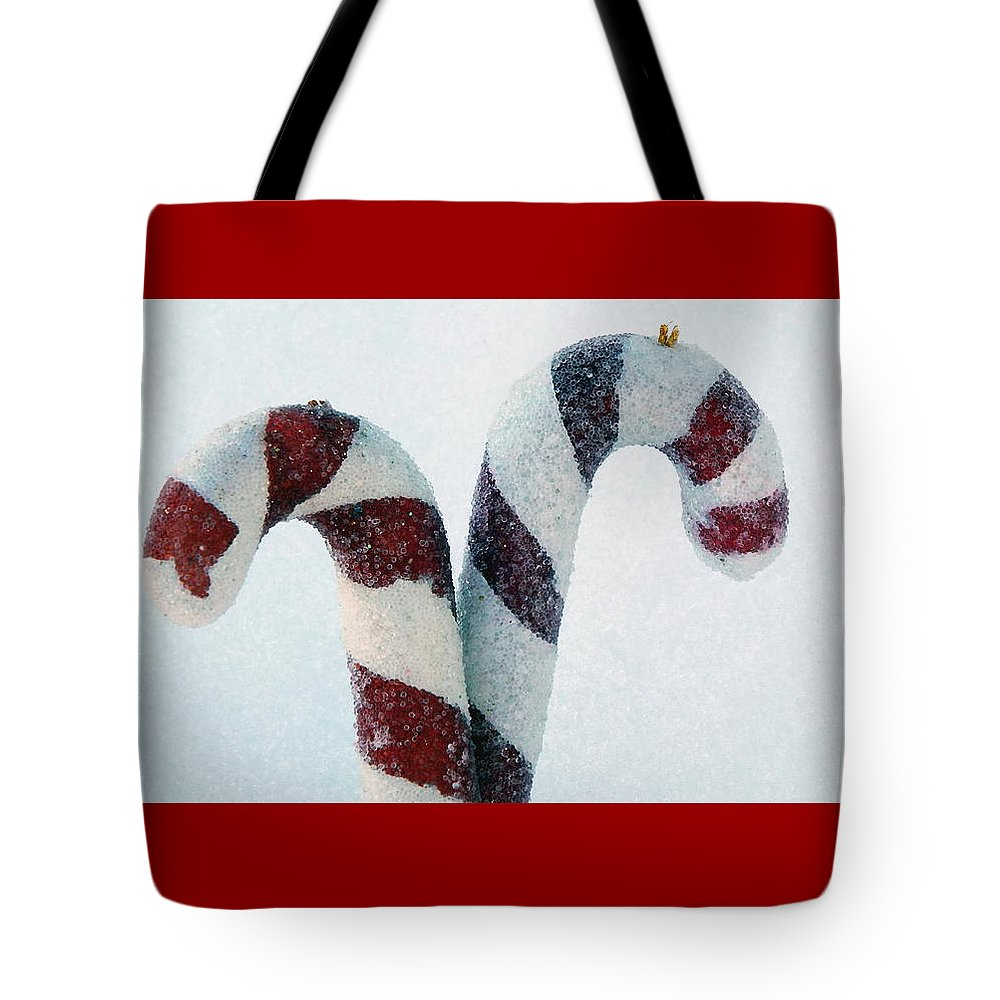 Christmas Tote Bag featuring the photograph Christmas Candy Canes On Real Snow by Isabelle Haynes