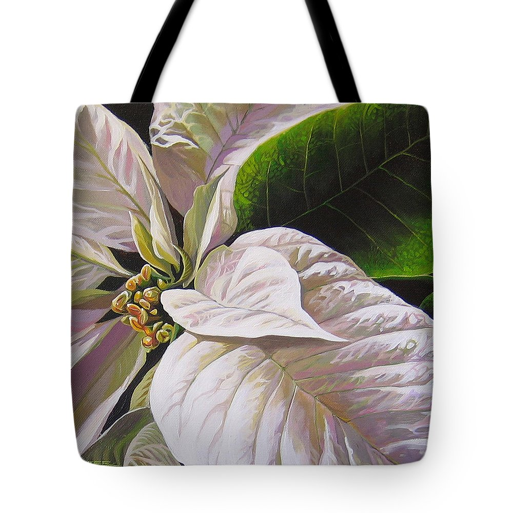 White Poinsettia Tote Bag featuring the painting Christmas Eve by Hunter Jay
