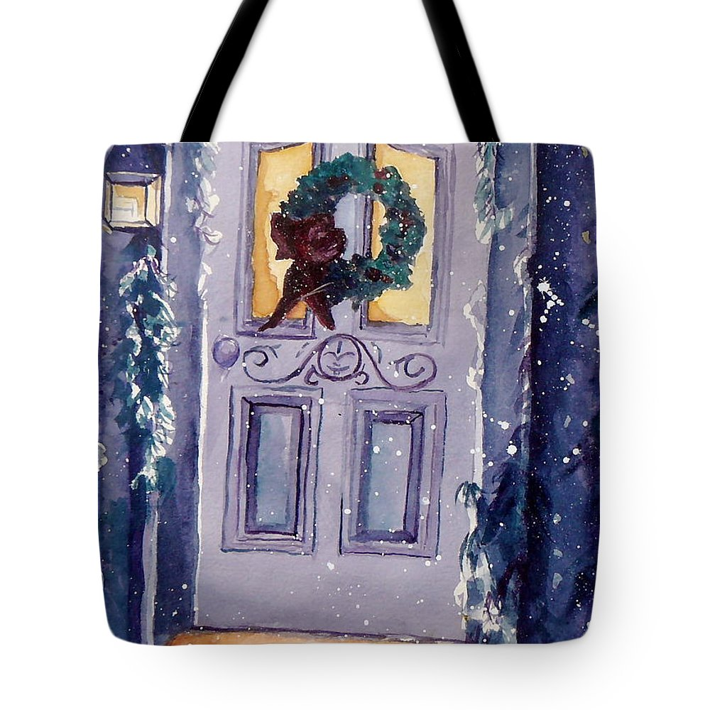 Holiday Scene Tote Bag featuring the painting Christmas Eve by Jan Bennicoff