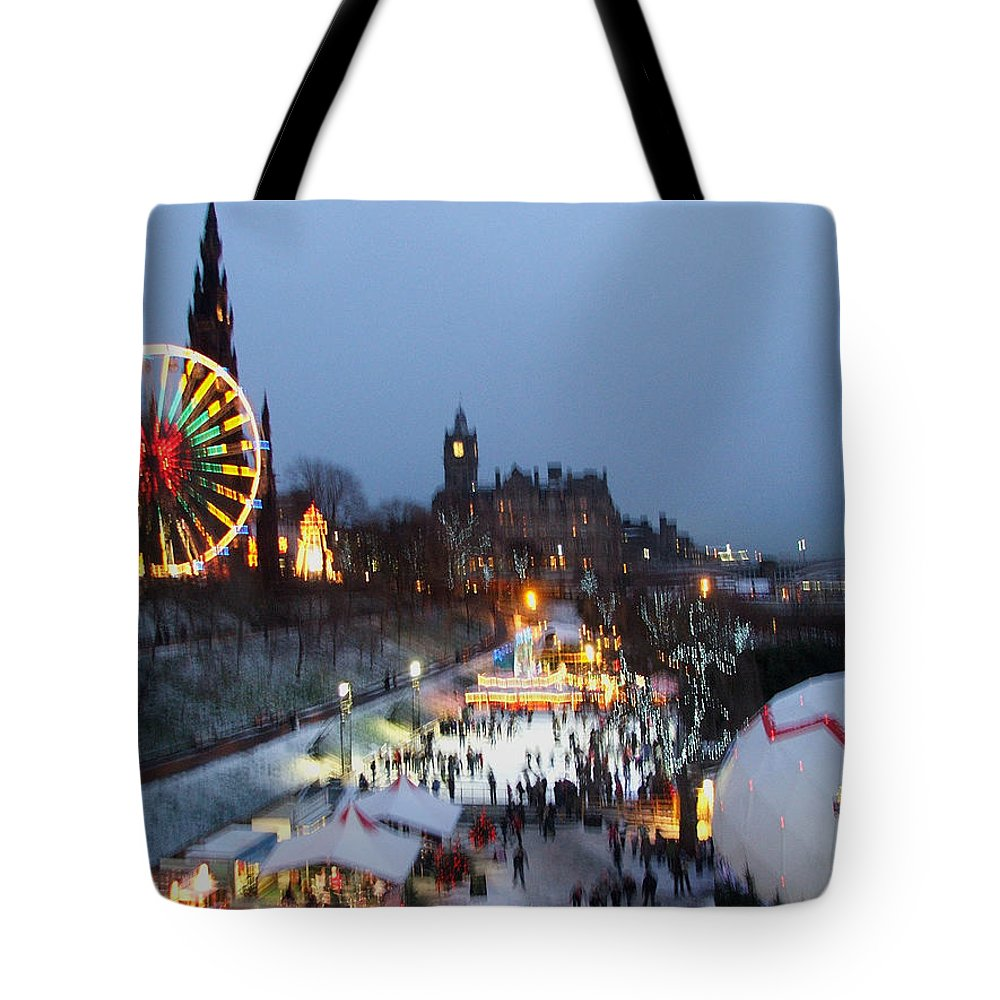 Winter Tote Bag featuring the photograph Christmas Fair Edinburgh Scotland by Heather Lennox