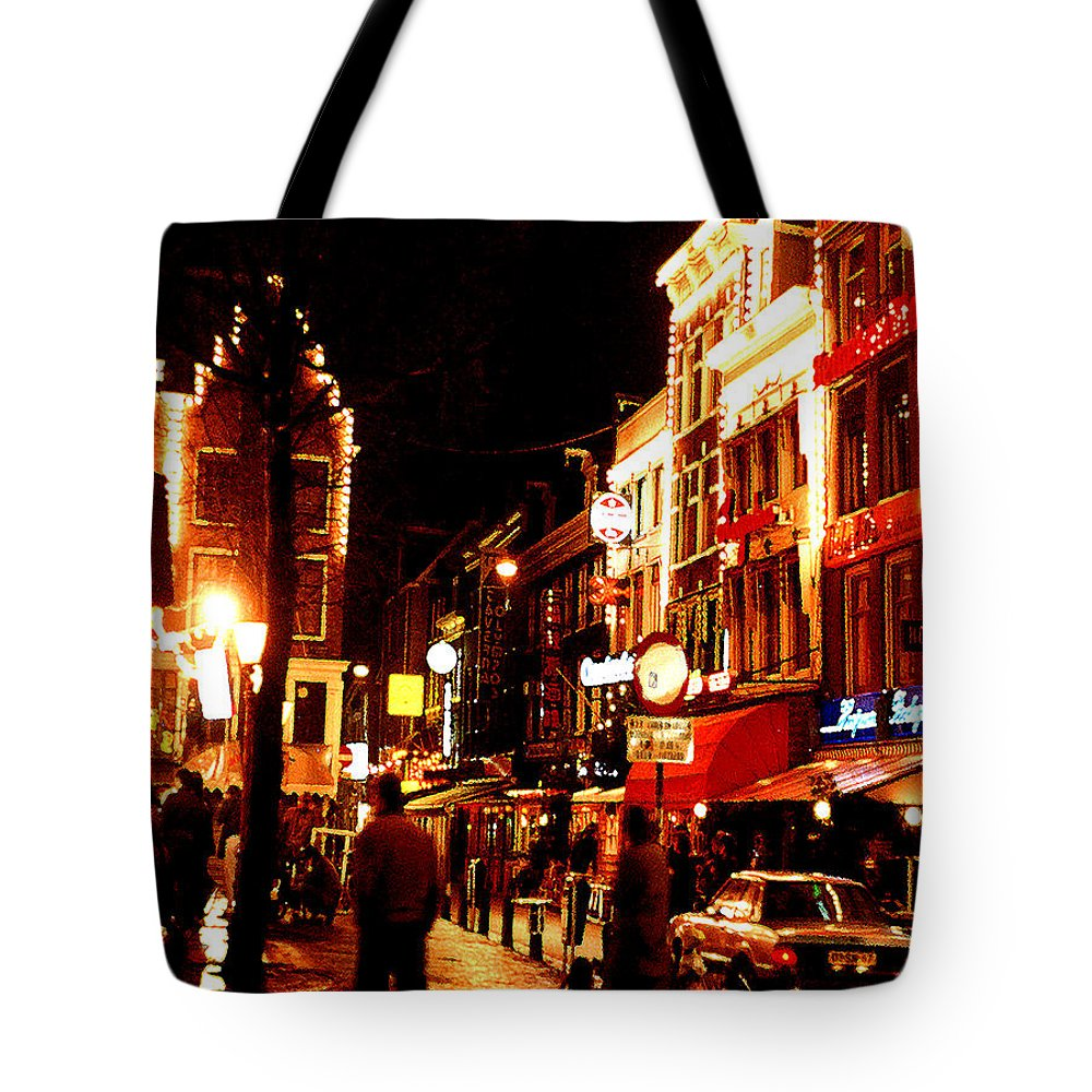 Night Tote Bag featuring the photograph Christmas In Amsterdam by Nancy Mueller