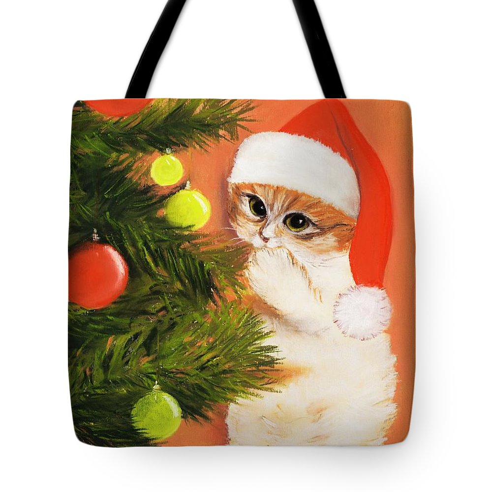 Malakhova Tote Bag featuring the pastel Christmas Kitty by Anastasiya Malakhova