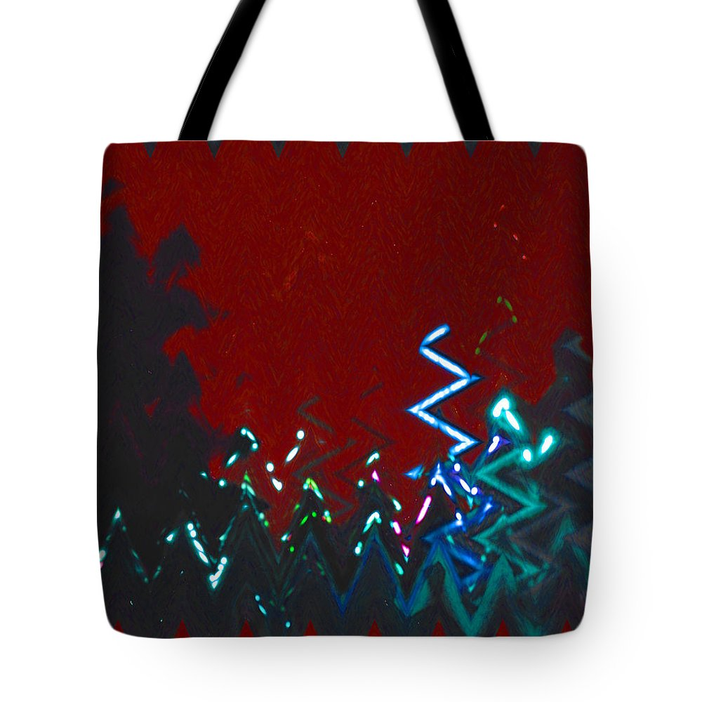 Abstract Tote Bag featuring the digital art Christmas Lights by Lenore Senior