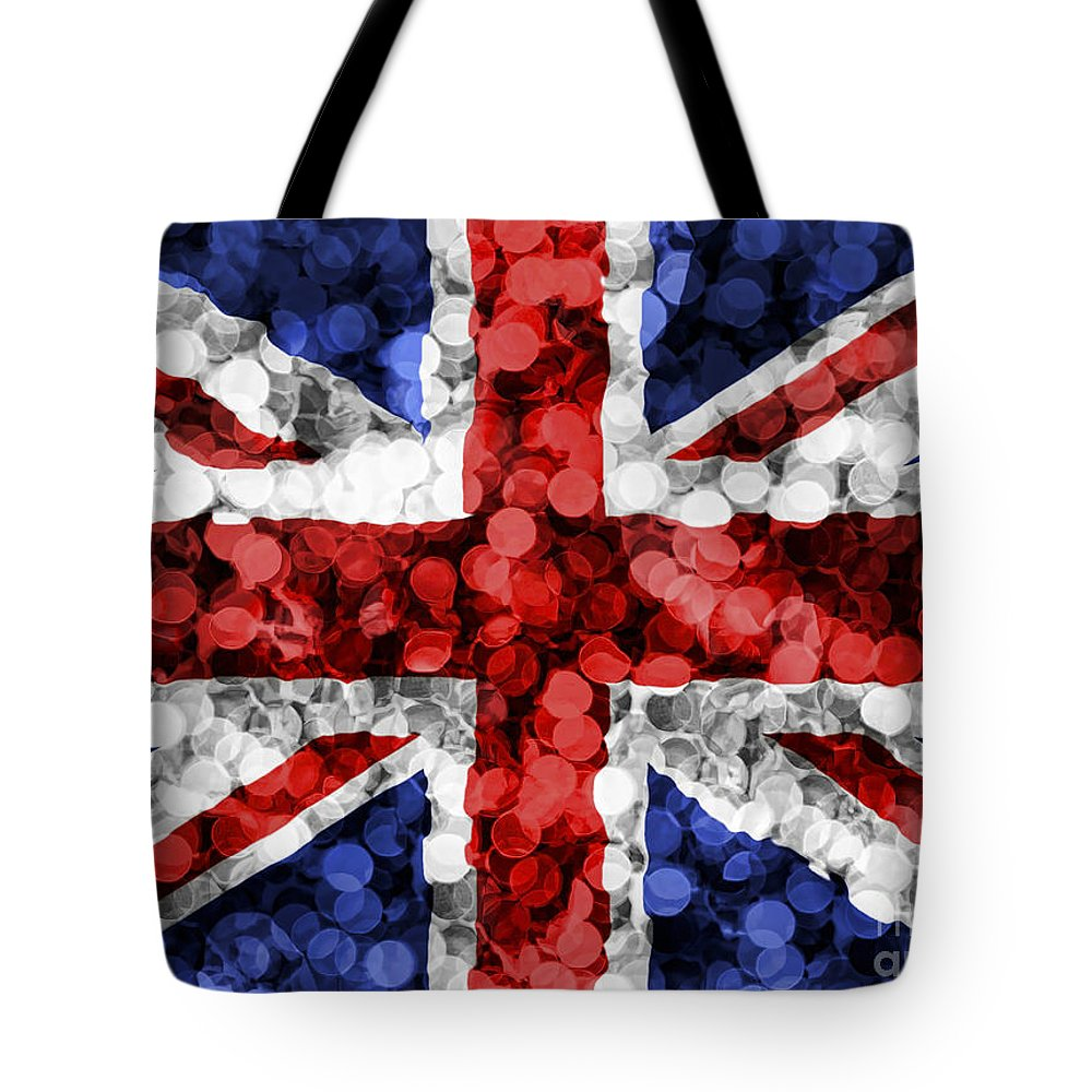 Sequine Tote Bag featuring the photograph Christmas Lights Uk Flag by Sebastien Coell