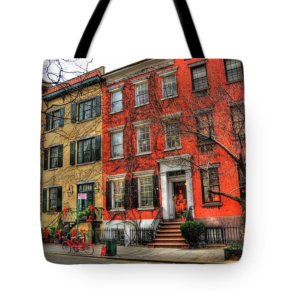 The Village Tote Bag featuring the photograph Christmas On Grove Street by Randy Aveille