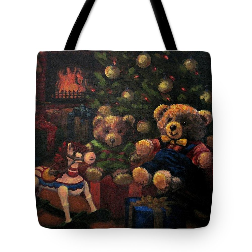 Christmas Tote Bag featuring the painting Christmas Past by Karen Ilari