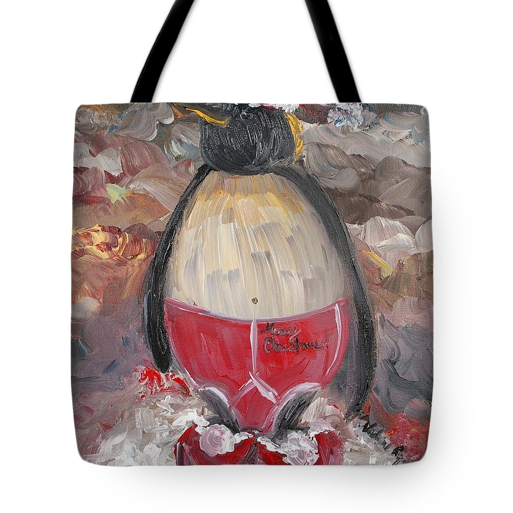 Penguin Tote Bag featuring the painting Christmas Penguin by Nadine Rippelmeyer