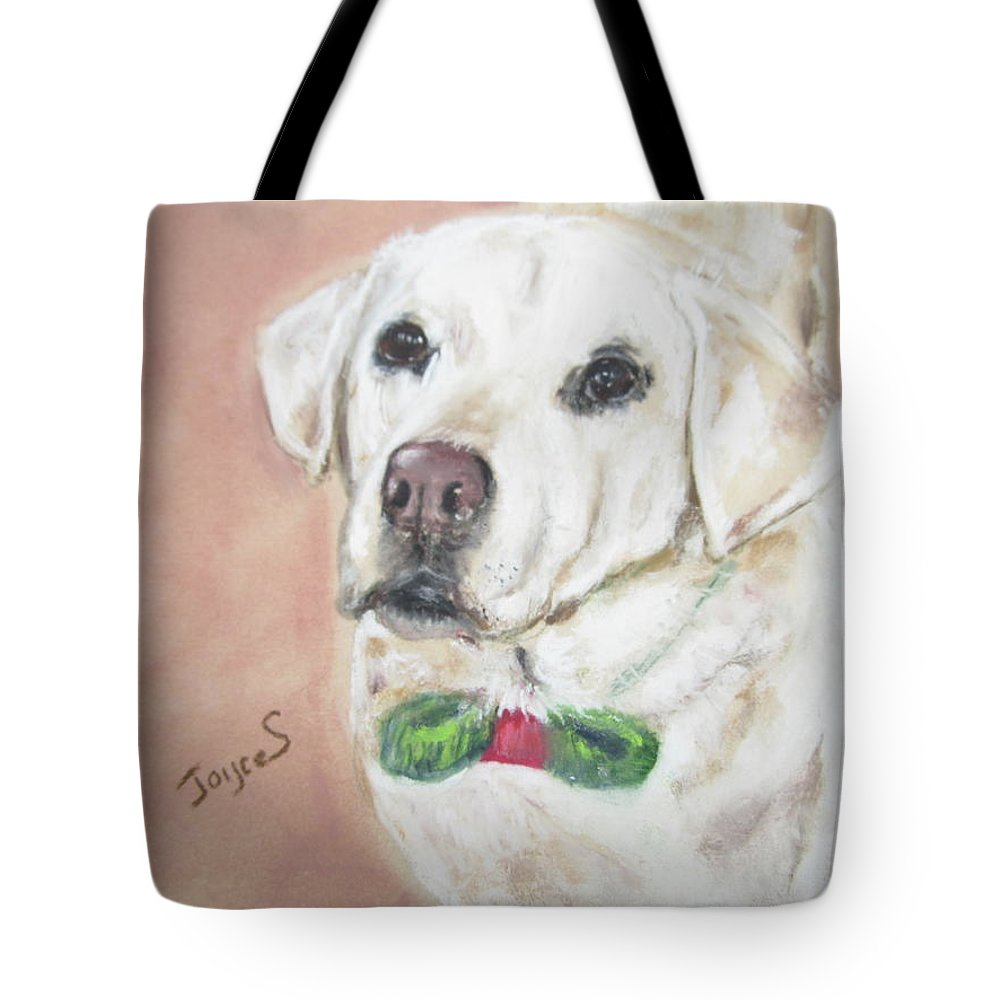Yellow Labrador Tote Bag featuring the painting Christmas Regan by Joyce Spencer