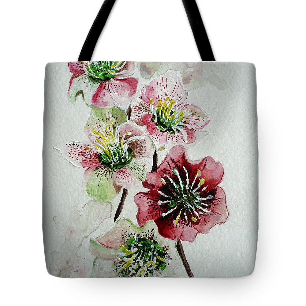 Floral Flower Pink Tote Bag featuring the painting Christmas Rose by Karin Dawn Kelshall- Best