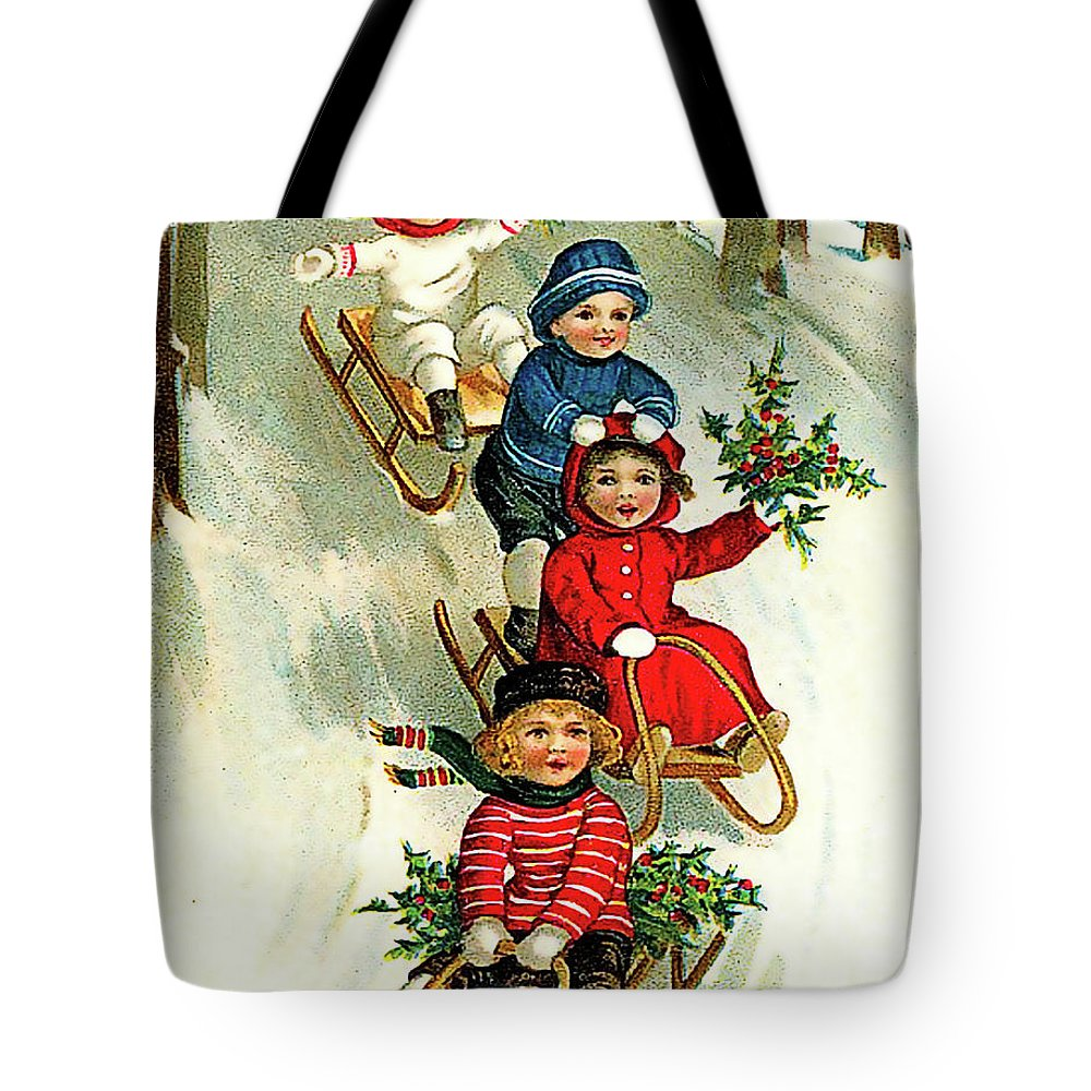 Snow Slide Tote Bag featuring the mixed media Christmas Snow Slide by Long Shot
